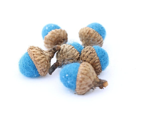 6 Wool Needle Felted Acorns in a Beautiful Robins Egg Blue