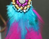 Bohemian Feather Necklace on Leather - Pink and Turquoise