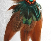 FEATHER ACCESSORIES - Bohemian Feather Necklace on Leather - Earthy Orange and Turquoise