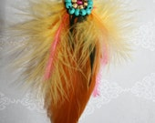 FEATHER ACCESSORIES - Bohemian Feather Necklace on Leather - Yellow and Turquoise