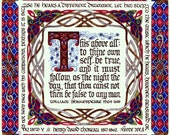 To Thine Own Self Be True Illuminated Manuscript Print with FREE SHIPPING