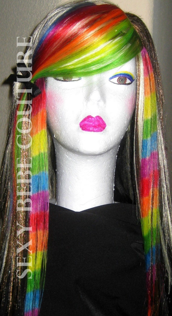 2 Rainbow Coon tail hair extension Rainbow by SexyBebeCouture