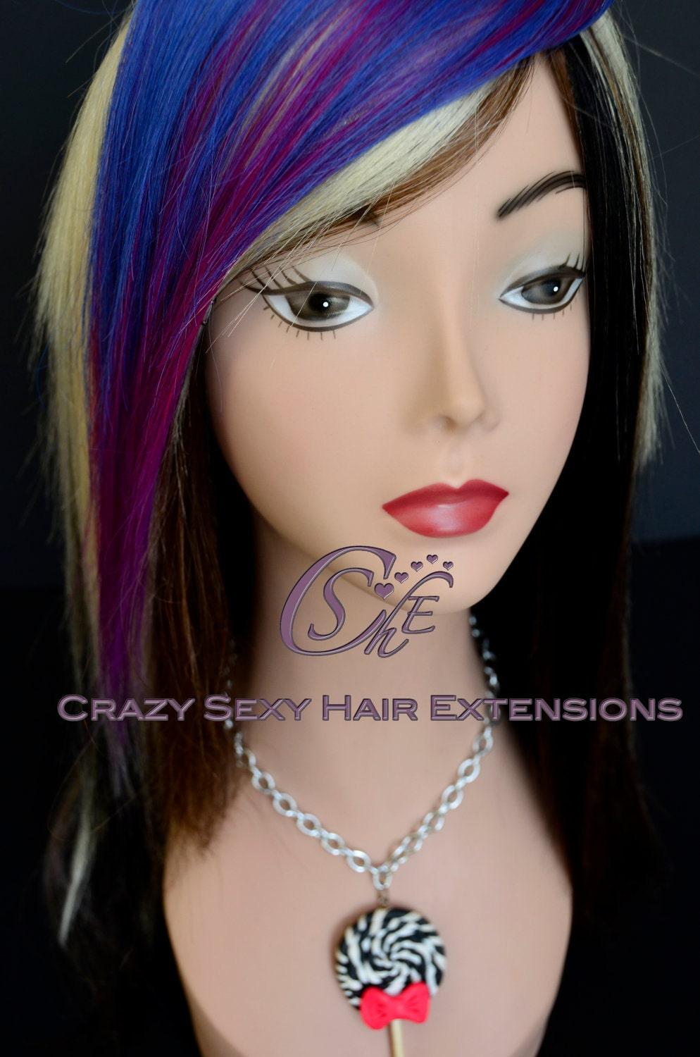 Black Hair With Blue Peekaboos - Viewing Gallery