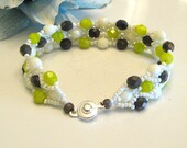 Beaded Triple Play Bracelet -  Lime Green, Purple and White