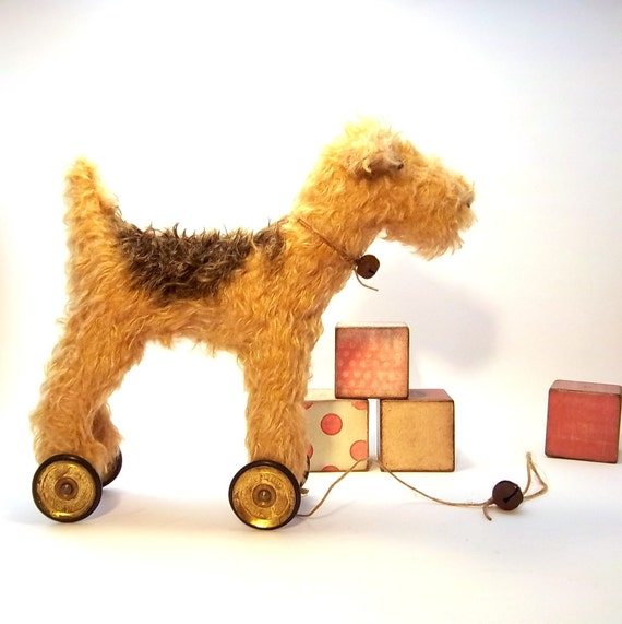 little TOFFEE Lakeland Terrier on vintage Meccano wheels