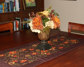 Fall Table Runner, Quilted Runner, Flowers, Autumn, Handmade Quilt, Table Topper, Thanksgiving, Moda