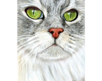 Kitty Green Eyes Painting Print