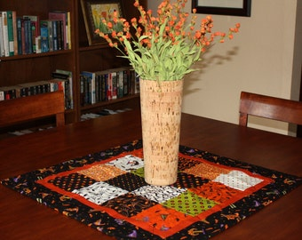 Trick Or Treat Quilted Table Runner, Halloween TableRunner, Quilt, Square