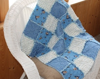 Flannel Boy Quilt, Rag Quilt, Blanket, Peachy Keen, Blue, Polka Dots, Dogs, Puppies