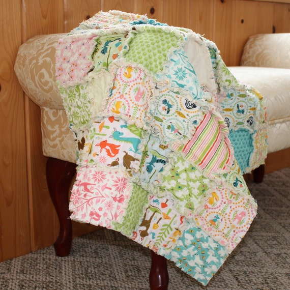 Woodland Tails Baby Rag Quilt
