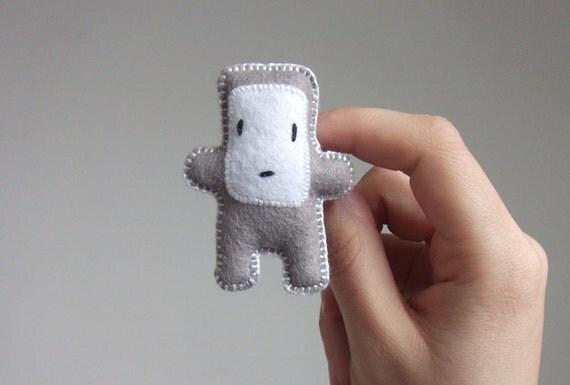grey felt robot brooch