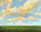 Original Oil Painting Custom Modern Abstract Sky Cloud Field LANDSCAPE ART by J Shears