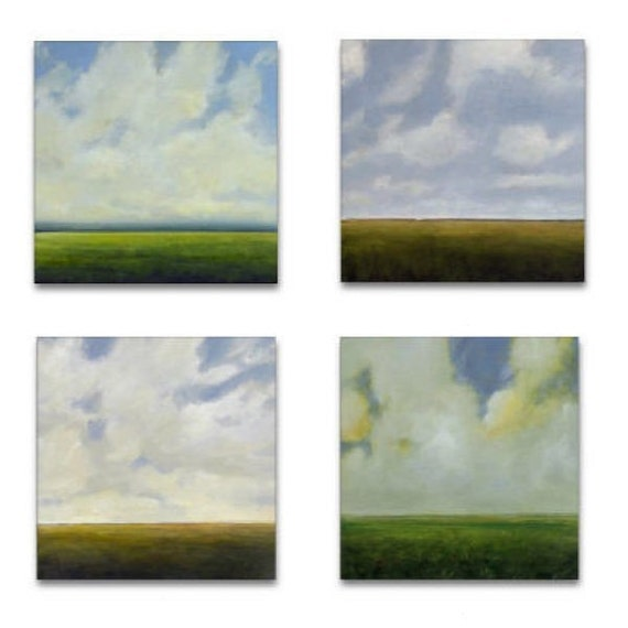 Original Oil Paintings Custom 4 Piece MODERN ABSTRACT SKY CLOUD FIELD LANDSCAPE ART by J Shears