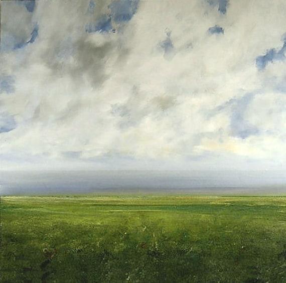 Landscape Painting CUSTOM Modern Abstract Sky Cloud FIeld by J Shears