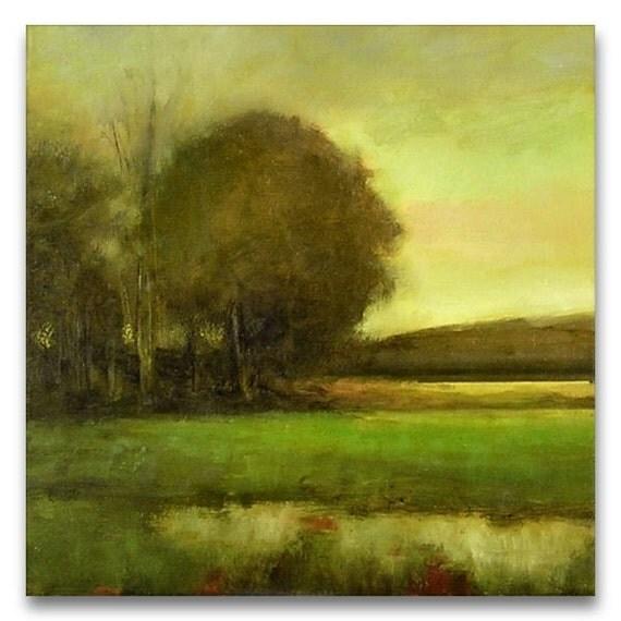 Original Oil Painting LANDSCAPE STREAM SKY CLOUD Art by J Shears