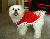 Adorable Pet Poncho  Pattern for beginners, Small to Medium Sized Dogs. Fits neck up to 17 inches. Fits around belly up to 20 inches. Finished body length 11inches. Included style changes for experienced sewers . Full size pattern by mail after payment