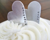 custom heart cake topper - personalize with your text