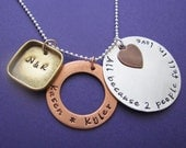 custom family love necklace - hand stamped mixed metals