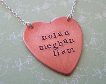 custom copper heart necklace - hand stamped with your text