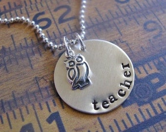 sterling silver owl teacher necklace