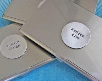 personalized business card case - custom hand stamped silver case