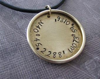 custom brass longitude latitude necklace