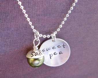 sweet pea necklace with personalized capped pearl