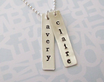 custom silver double tag necklace