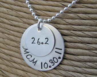 custom marathon necklace - personalize with name or date of race