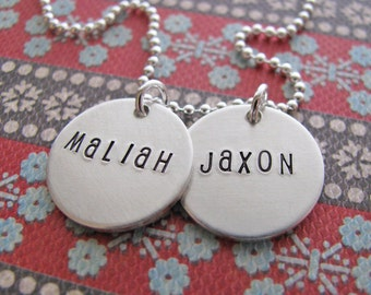 custom name necklace - personalize front and back of charms