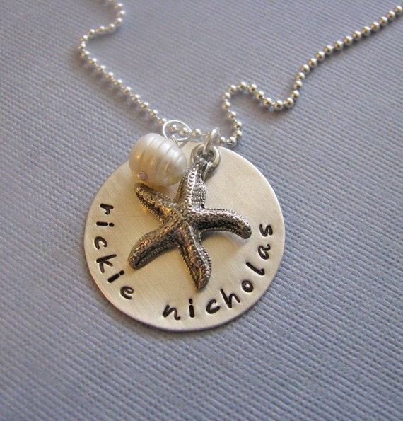 NEW - custom beach babies necklace - hand stamped silver