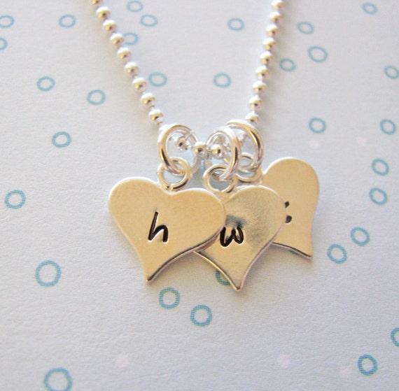 tiny sterling silver heart charm necklace - personalize with initials