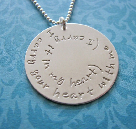 I carry your heart with me necklace - e.e. cummings poem