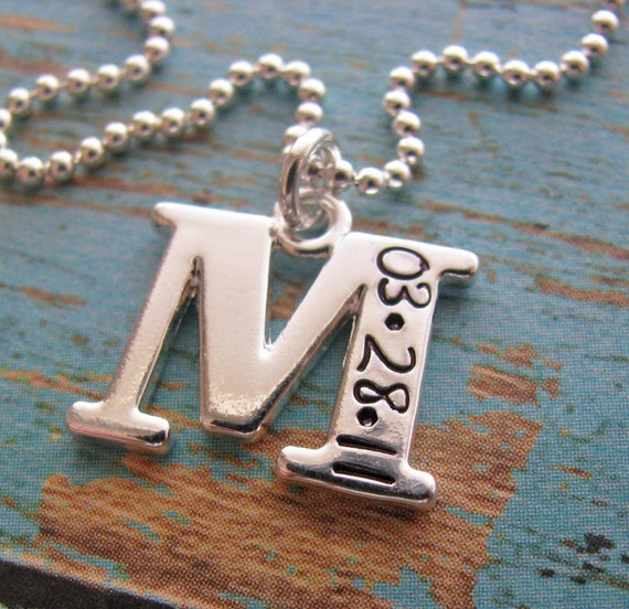 personalized initial necklace - customized with date