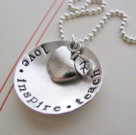 love inspire teach necklace - teacher gift
