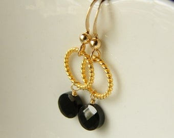 Black Onyx and Gold Filled Earrings - Alexa Limited Edition Earrings