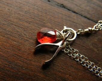 Custom Birthstone Sterling Silver Bracelet, Wishbone Pendant, red Zircon - Lily Limited Edition Bracelet