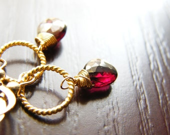 Red Garnet and Gold Filled Earrings - Alexa Limited Edition Earrings