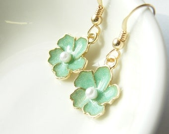 Pastel Green Sakura Flower and Gold Filled - Rita Limited Edition Earrings