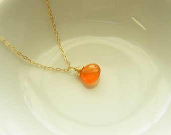 Tiny Persimmon Orange Carnelian Gold Filled Necklace- Lily Limited Edition Necklace