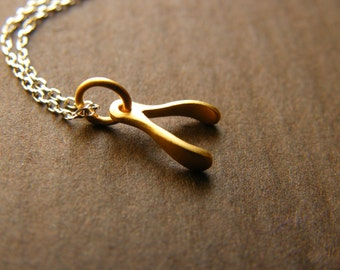 Dainty Vermeil Wishbone Charm Gold Filled Necklace- Limited Edition Necklace