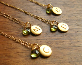 Bridesmaids Gift - Set of four (4) Personalized Initial Pendant Disc with Gemstone - Gold Filled Necklaces