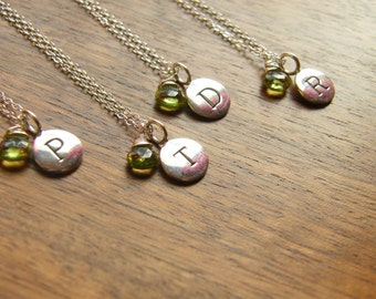 Personalized Initial Pendant Disc with Gemstone Bridesmaids Gift - Set of five (5)  - Sterling Silver Necklaces