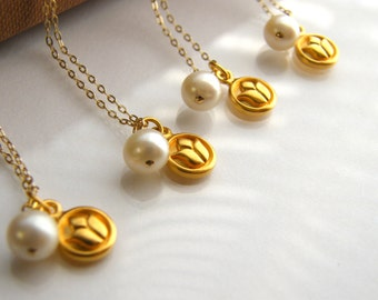 Bridesmaids Gift  Set of four (4) Lotus Vermeil Charms with White Pearl Gold Filled Necklaces