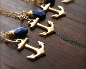 Gold Anchor Pendant Necklaces - Blue Lapis Lazuli - Bridesmaids Gift Set of 2