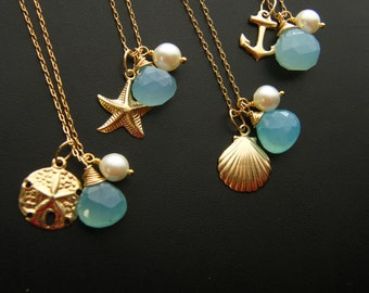 Bridesmaid GIFT SET of FOUR Nautical Necklaces Keepsake - 14k gold fill - Beach Wedding Jewelry