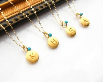 Personalized Initial Pendant Disc with Gemstone Gold Filled Necklaces - Bridesmaids Gift - Set of four (4)