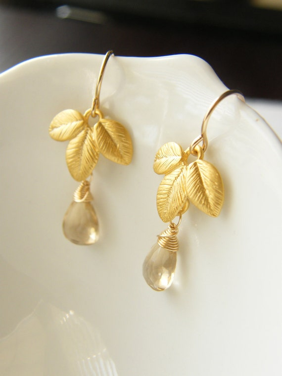 Gold Leaf Trio, Smokey Quartz Earrings - Perfect Birthday Gift or Bridesmaids Gift