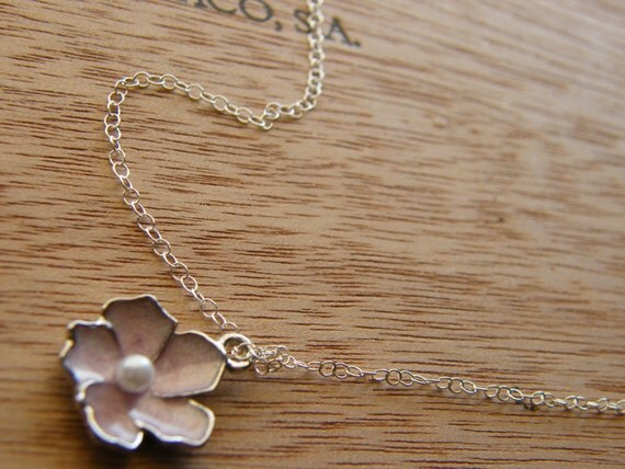 Light Pink Sakura Flower and Sterling Silver Necklace - Rita Limited Edition Necklace