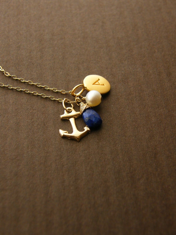 Personalized Anchor Charm Necklace | Aqua Chalcedony | Bridesmaid gifts | beach wedding | nautical